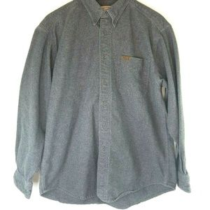 Woolrich Mens Large Button Down Gray Flannel